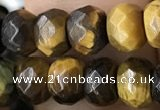 CRB5121 15.5 inches 4*6mm faceted rondelle yellow tiger eye beads