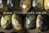 CRB5166 15.5 inches 5*8mm faceted rondelle yellow tiger eye beads