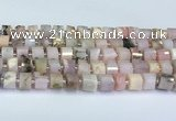 CRB5607 15.5 inches 7mm - 8mm faceted tyre pink opal beads
