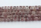 CRB5610 15.5 inches 7mm - 8mm faceted tyre strawberry quartz beads