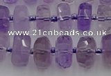 CRB566 15.5 inches 7*12mm faceted rondelle amethyst beads