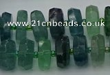 CRB617 15.5 inches 8*16mm faceted rondelle fluorite beads