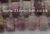 CRB659 15.5 inches 6*12mm tyre pink tourmaline gemstone beads