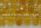 CRB846 15.5 inches 8*18mm faceted rondelle citrine beads