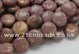 CRC71 15.5 inches 10mm flat round rhodochrosite gemstone beads
