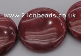 CRC820 15.5 inches 30mm flat round Brazilian rhodochrosite beads