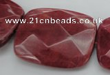 CRC853 15.5 inches 30*40mm faceted rectangle Brazilian rhodochrosite beads