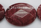 CRC863 15.5 inches 30*40mm faceted oval Brazilian rhodochrosite beads
