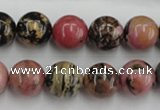 CRD04 15.5 inches 12mm round natural rhodonite gemstone beads