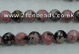 CRD12 15.5 inches 8mm faceted round rhodonite gemstone beads