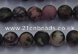 CRD24 15.5 inches 6mm round matte rhodonite beads wholesale