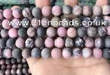 CRD33 15.5 inches 10mm round matte rhodonite beads wholesale