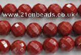 CRE154 15.5 inches 10mm faceted round red jasper beads wholesale