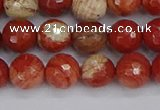 CRE332 15.5 inches 8mm faceted round red jasper beads