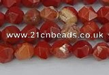 CRE345 15.5 inches 6mm faceted nuggets red jasper beads