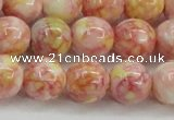 CRF319 15.5 inches 14mm round dyed rain flower stone beads wholesale
