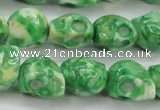 CRF371 15.5 inches 11*12mm skull dyed rain flower stone beads