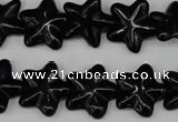 CRG21 15.5 inches 16*16mm star black agate gemstone beads wholesale
