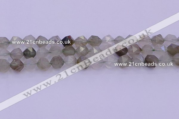 CRH614 15.5 inches 12mm faceted nuggets green rabbit hair beads