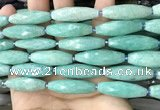 CRI120 15.5 inches 10*30mm faceted rice amazonite gemstone beads