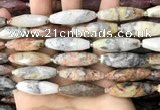 CRI127 15.5 inches 10*30mm faceted rice crazy lace agate beads