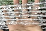 CRI144 15.5 inches 10*30mm faceted rice white crystal beads
