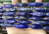 CRI151 15.5 inches 10*30mm faceted rice lapis lazuli beads