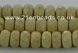 CRI222 15.5 inches 6*10mm faceted rondelle riverstone beads