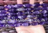 CRI302 15.5 inches 10*25mm rice dogtooth amethyst beads wholesale