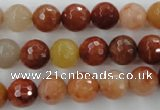 CRJ253 15.5 inches 10mm faceted round red jade gemstone beads
