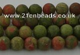 CRO1061 15.5 inches 6mm round matte unakite beads wholesale