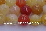 CRO1163 15.5 inches 10mm round golden silk jade beads wholesale
