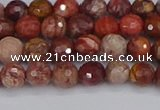 CRO1189 15.5 inches 6mm faceted round red porcelain beads