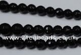CRO702 15.5 inches 6mm – 14mm faceted round black agate beads