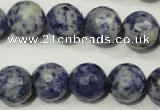 CRO776 15.5 inches 16mm faceted round blue spot stone beads wholesale