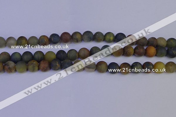 CRO913 15.5 inches 10mm round matte golden pietersite beads