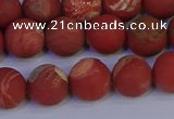 CRO933 15.5 inches 10mm round matte red jasper beads wholesale