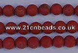 CRO941 15.5 inches 6mm round matte red jasper beads wholesale