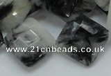 CRU09 15.5 inches 20*20mm faceted diamond black rutilated quartz beads