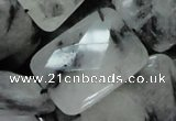 CRU11 15.5 inches 20*30mm faceted rectangle black rutilated quartz beads