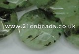 CRU117 15.5 inches 30mm faceted coin green rutilated quartz beads