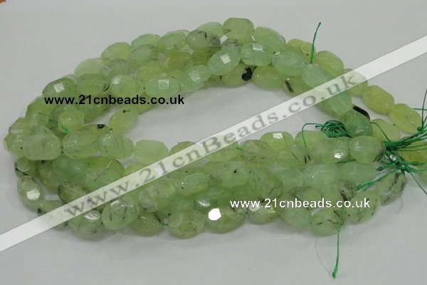 CRU123 15.5 inches 12*18mm faceted nugget green rutilated quartz beads