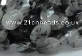 CRU14 15.5 inches 11*14mm faceted oval black rutilated quartz beads
