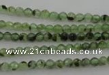 CRU150 15.5 inches 4mm faceted round green rutilated quartz beads