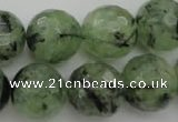 CRU158 15.5 inches 16mm faceted round green rutilated quartz beads