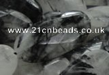 CRU20 15.5 inches 20*40mm faceted oval black rutilated quartz beads
