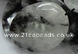 CRU21 15.5 inches 35*50mm faceted oval black rutilated quartz beads