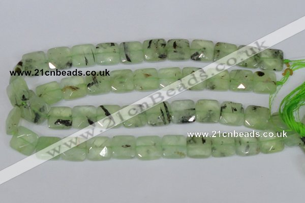 CRU213 15 inches 16*16mm faceted square green rutilated quartz beads
