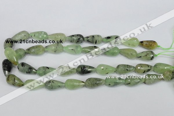 CRU215 15 inches 12*22mm faceted teardrop green rutilated quartz beads