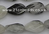CRU354 13*18mm twisted & faceted oval black rutilated quartz beads